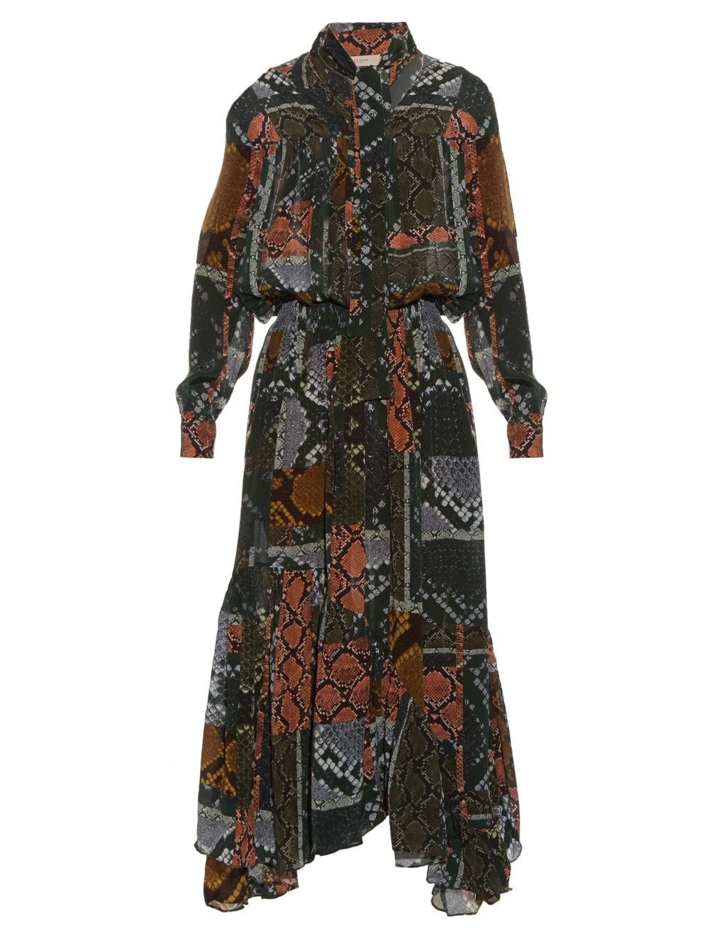 Martha snake-print tie-neck dress