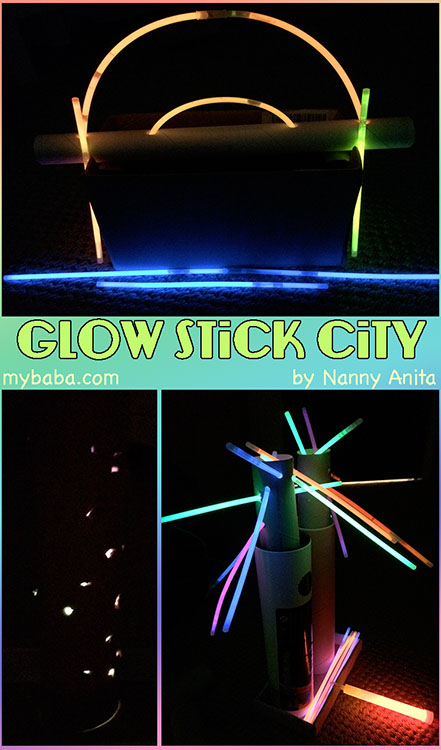Build a city using only glow sticks and junk modelling material. NO GLUE OR TAPE.