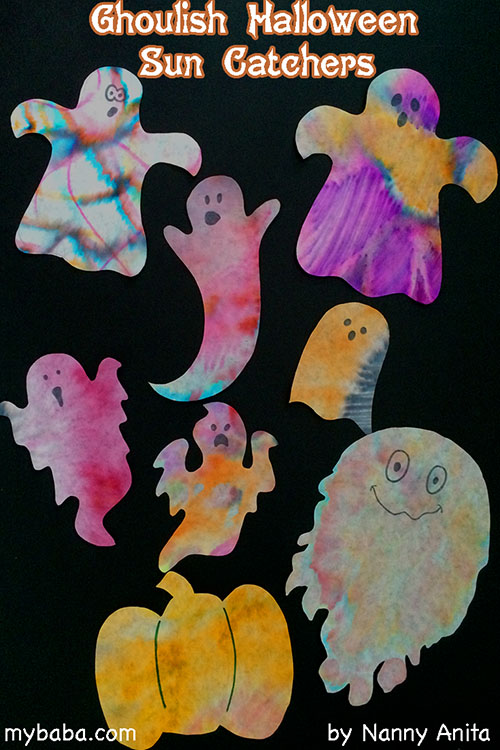 Ghoulish Ghost Sun Catchers. Halloween Craft.