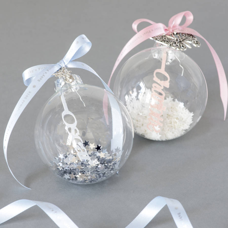 Clear Coloured Glass Baubles