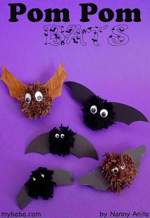 easy to make pom pom bats, a perfect halloween craft.