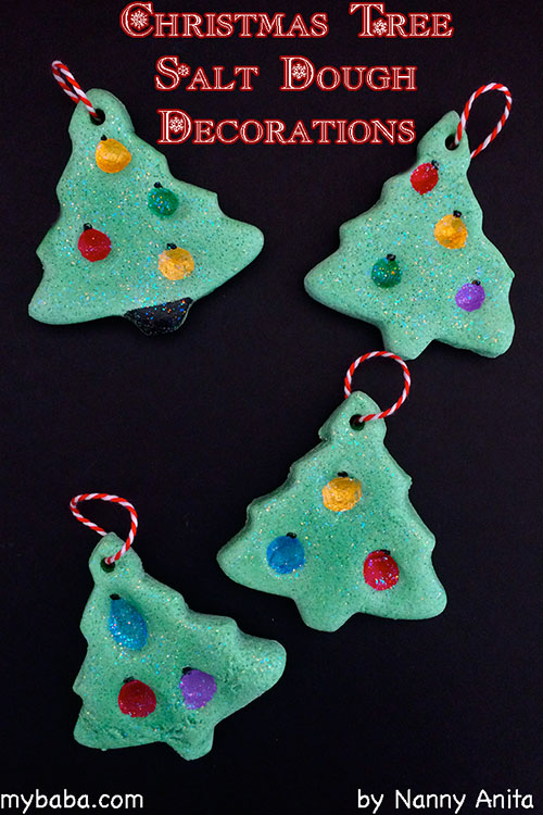 Christmas Tree Salt Dough Decorations. Homemade decorations that children of all ages can make.