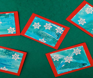 Watercolour and salt christmas cards