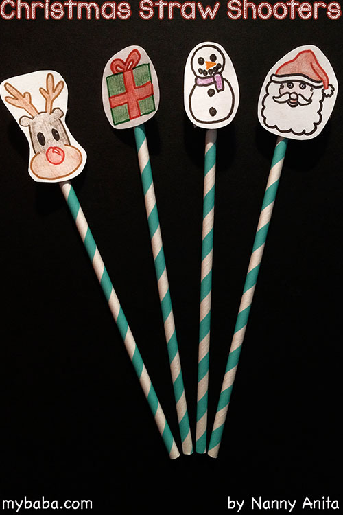 Christmas activity for kids - make these straw shooters and have fun trying to see how far they can go or if you can hit things with them.