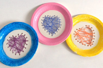 Paper plate threaded hearts