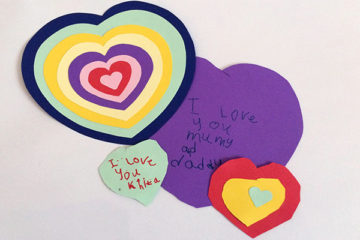 paper heart craft for Valentine's day