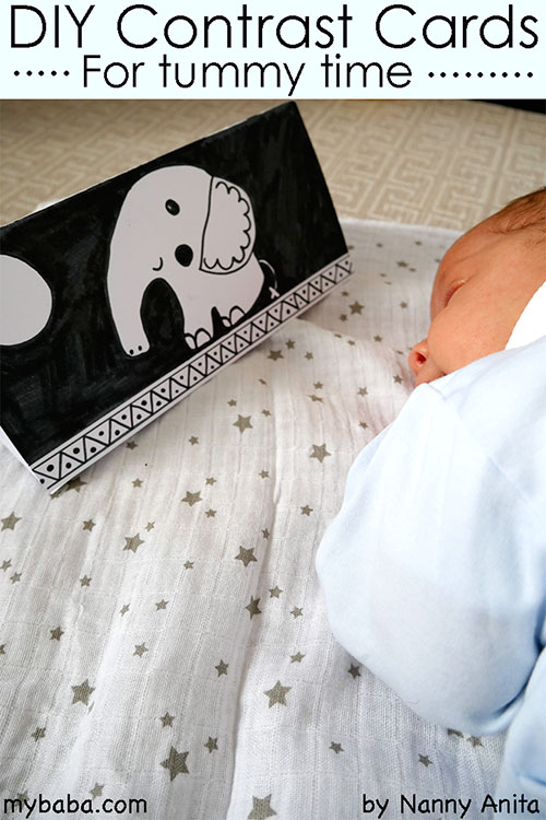 diy contrast cards for babies. Perfect for using during tummy time