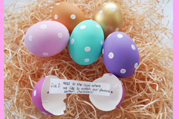 a message in an egg: find the clues hidden in eggs to complete this Easter egg hunt.