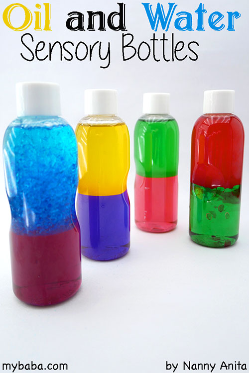 Oil And Water Sensory Bottles For Babies My Baba