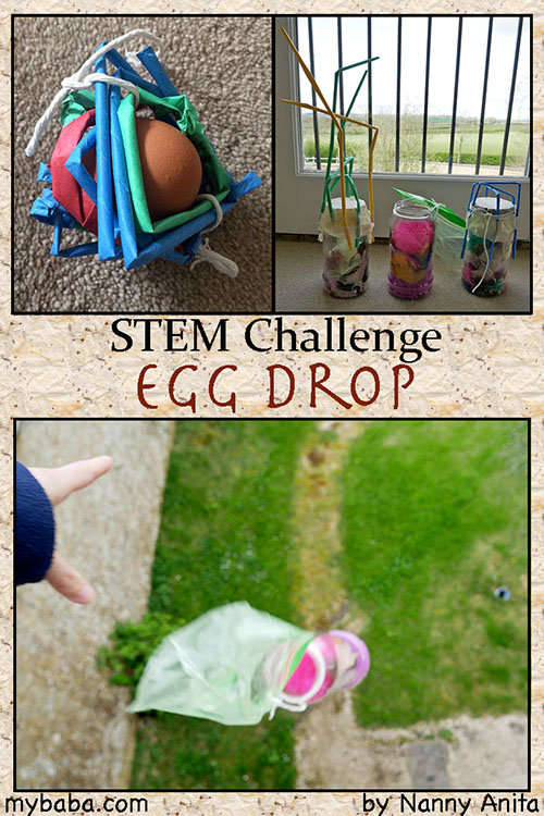 Egg Drop Challenge: Can you build a container so that the egg will survive the fall. Stem challenge for kids and teens.