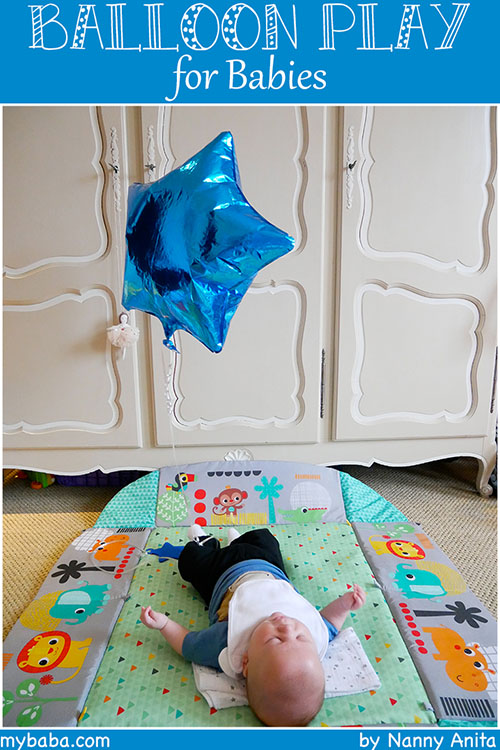 balloon play for babies - activities for babies aged 1-3months to help with gross motor skills