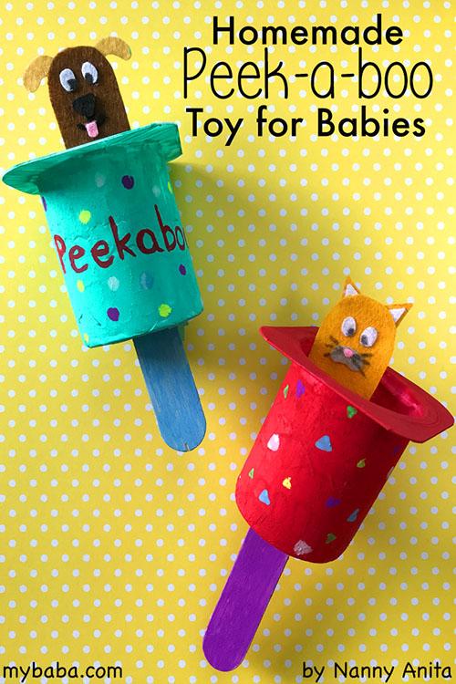 a homemade peekaboo toy for babies.
