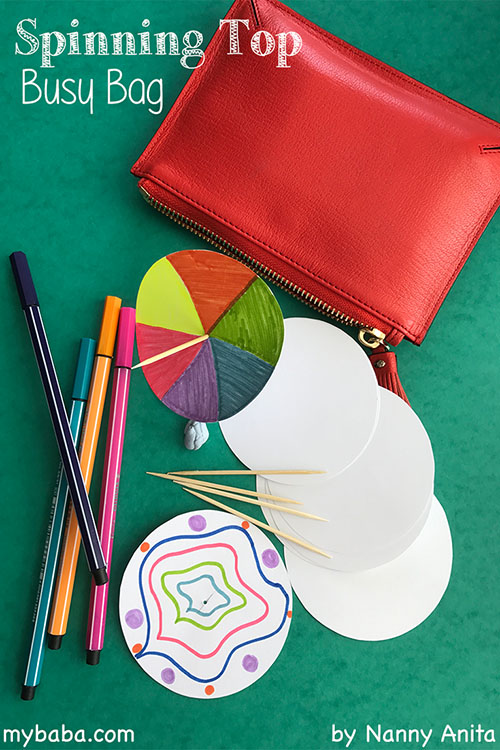 Make a spinning top busy bag using paper circles and toothpicks. It makes a fun activity that you can carry around in your bag for when you need to keep a child busy for a while.