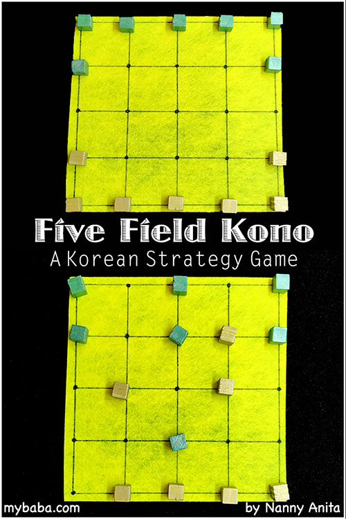How to play five field kono. An abstract strategy game from Korea. It is a bit like Chinese checkers.