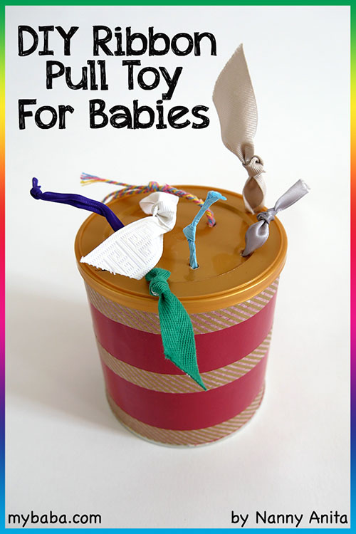 DIY ribbon pull toy for babies - great way for them to start developing their fine motor skills