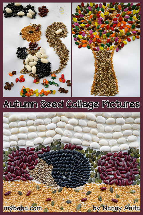 Autumn and animal seed collage crafts. Great crafts for kids, teens and adults for Autumn