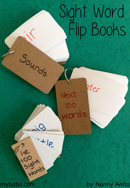 sight word flip book - an easy reading aid to have around to help with learning high frequency sight words.