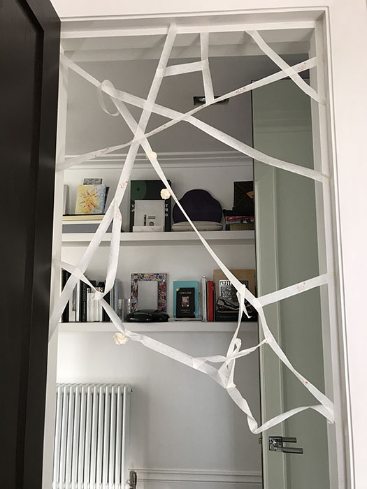 sticky spider web tape game