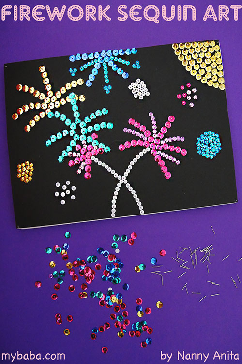 firework sequin art: Make a sparkly piece of art for bonfire night with this firework sequin art.  This craft is better suited to older children, tweens, and teens.