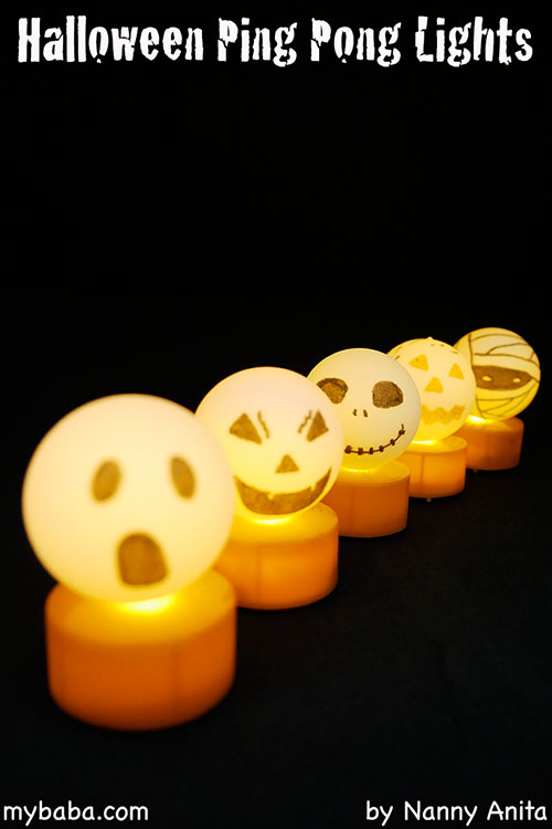 Halloween ping pong lights: Make these spooky Halloween lights using ping pong balls and tea lights.  A great Halloween craft for the children.