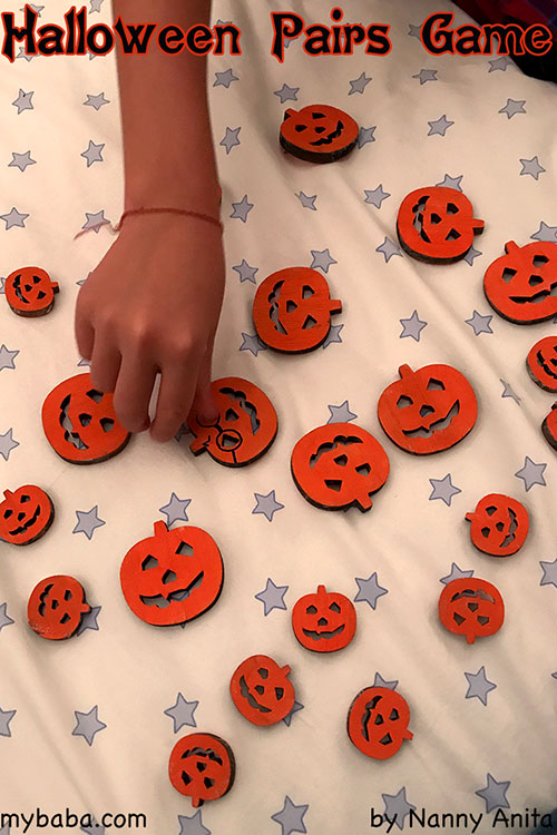 halloween pumpkin pairs game: A halloween memory game for children.