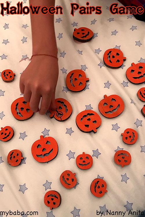 halloween pumpkin pairs game: A halloween memory game for children.
