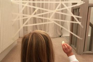 sticky spider web tape game