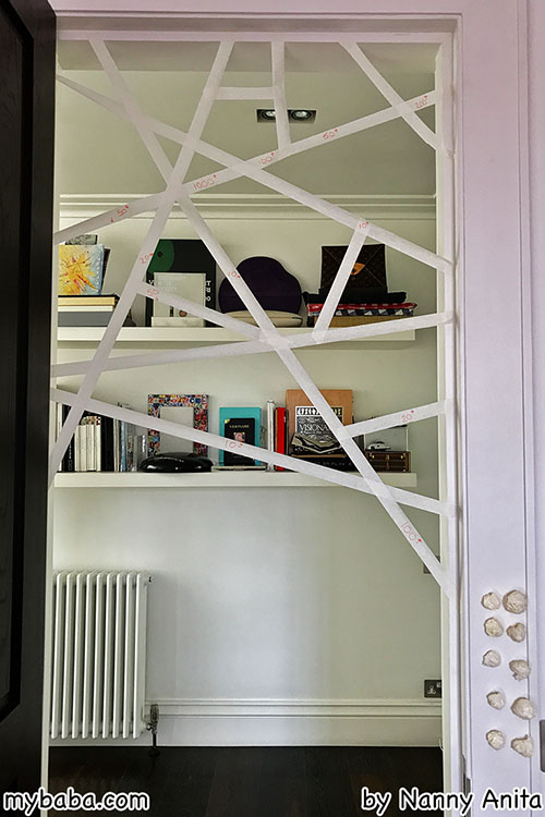 Sticky spider web tape game: try to get your pieces through the web to get the most point. Not just a great Halloween game, but one that can be played all year around. Good for developing gross motor skills in children.