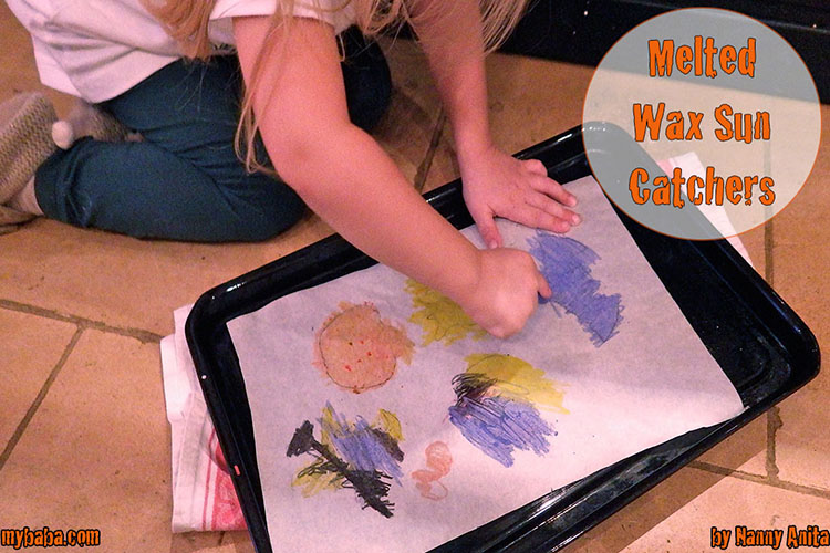Melted crayon sun catchers: Draw halloween shapes onto parchment paper, places it on a heated tray and then use crayons to colour it in. Makes a great halloween craft for preschoolers.