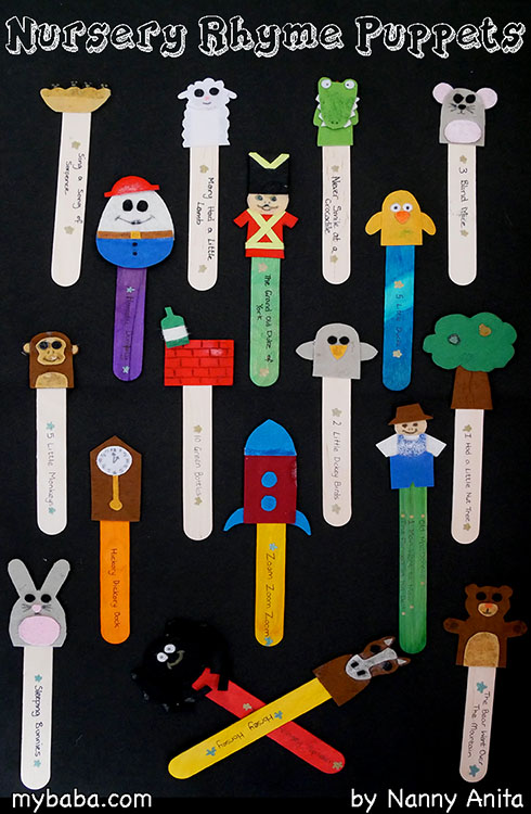 DIY nursery rhyme puppets: perfect for circle times at nursery.  Use them as props so that children can choose what to sing.  They also make great props to act out the songs.