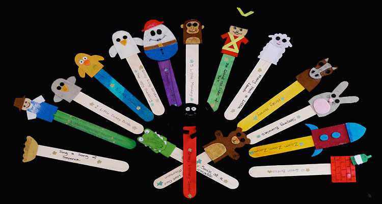 DIY nursery rhyme puppets