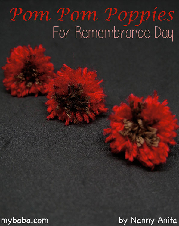 Make your own mini pom pom poppies that are easy to attach to your coat for Remembrance Day. Kids craft.