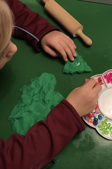 Invitation to create play dough christmas trees