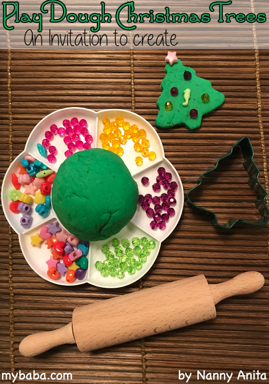 An invitation to create play dough christmas trees.  Children's christmas activity.
