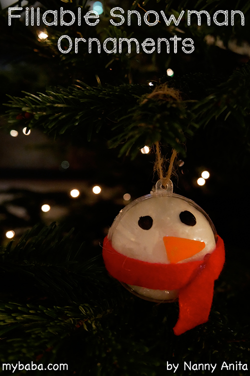 fillable snowman ornaments: Easy christmas craft for children.