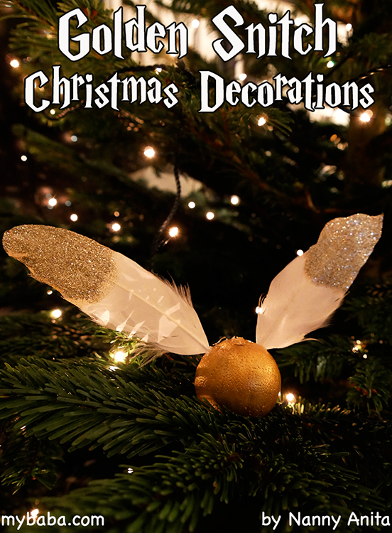 Decorate your Christmas tree with these Harry Potter inspired Golden Snitch decorations.