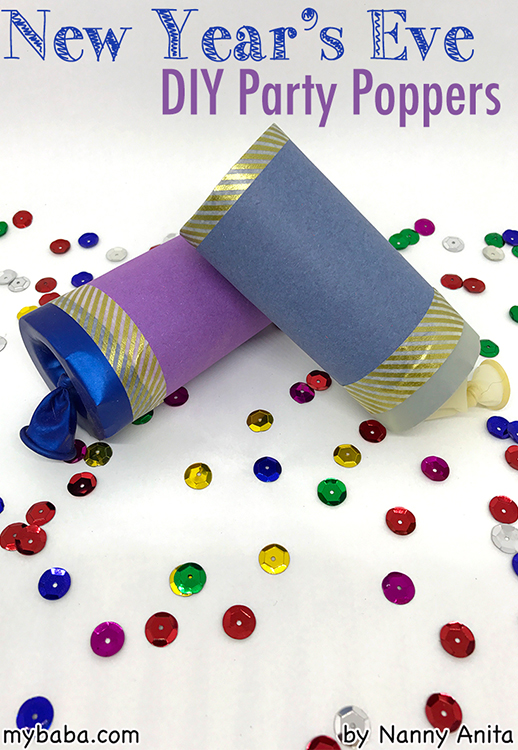 DIY party poppers.  Perfect for any New year's eve party.  They're especially great to use with children who will use them over and over again.