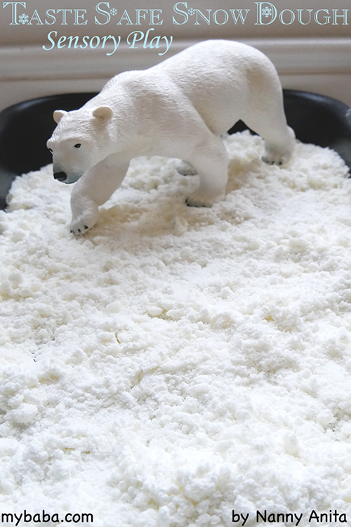 Make taste safe snow dough sensory play for babies and toddlers using only two household items - flour and vegetable oil.