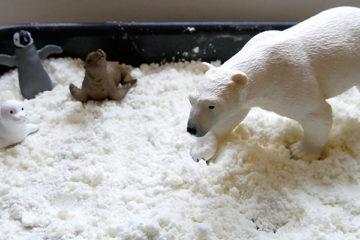 taste safe snow dough sensory play