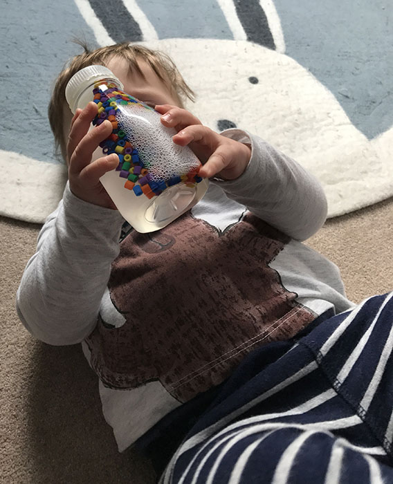 hama bead sensory bottle