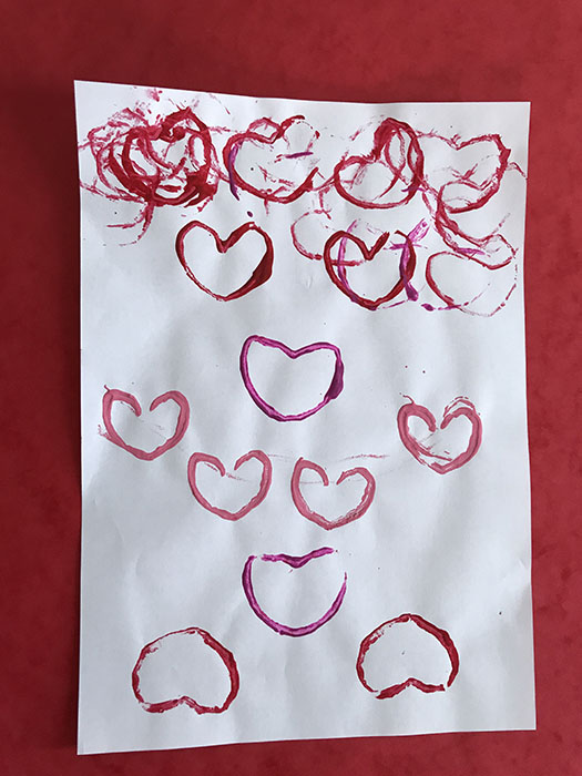 Loo roll heart stamping
