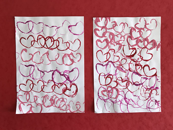 Loo roll stamping hearts
