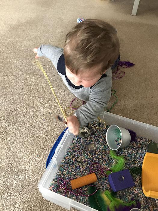 Mardi Gras sensory box