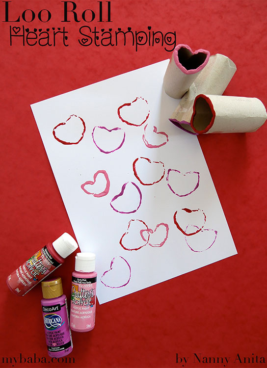 Loo roll heart stamping craft for kids. The perfect valentines themed craft.