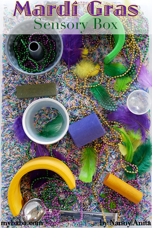 Mardi Gras sensory box for babies and toddlers