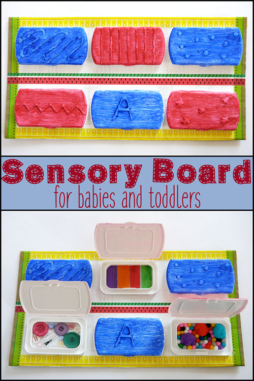 Make a simple DIY sensory board using old lids from baby wipes and a few craft supplies. You baby or toddler is sure to enjoy exploring all the different textures of it.