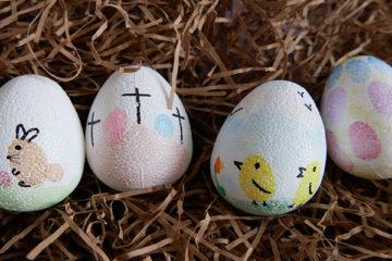 fingerprint decorated Easter eggs