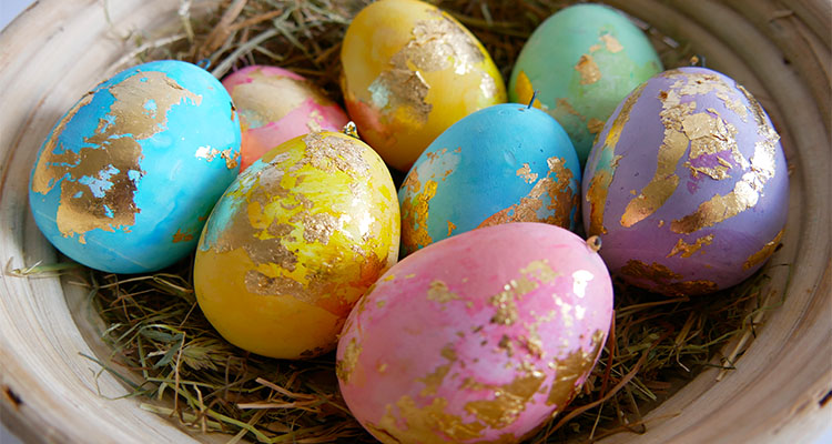 gold foil Easter eggs