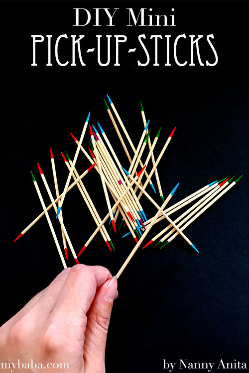 Make your own mini pick up sticks busy bag using toothpicks. Busy bag for children