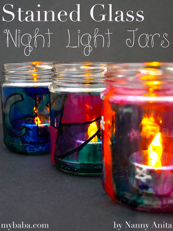 Stained glass night light jars for children. Kids craft